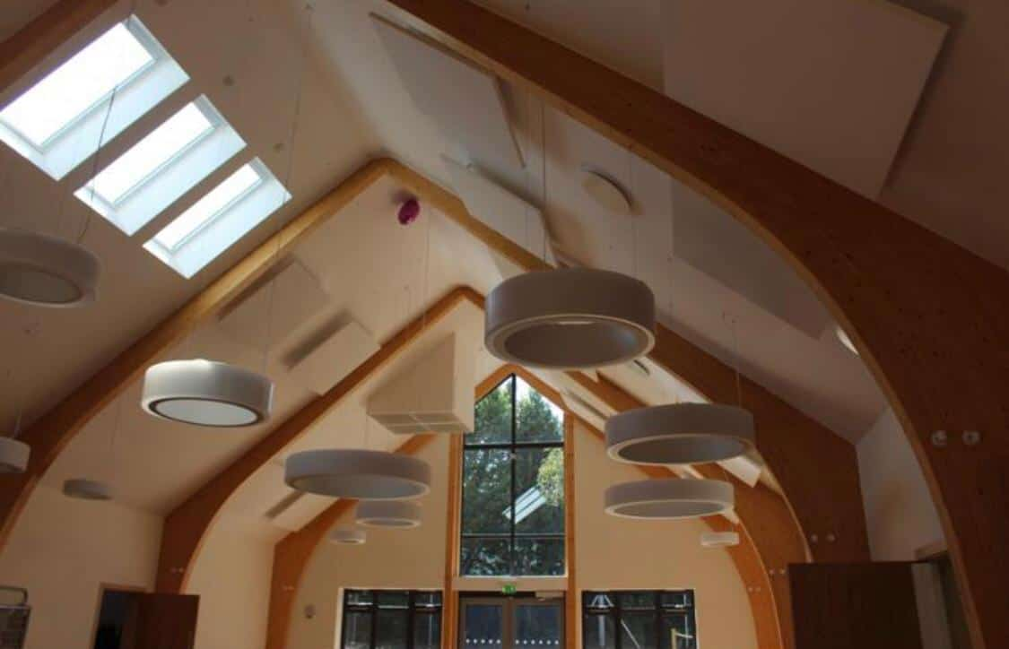 Hanging Circular Lights inside the Herne Community Centre