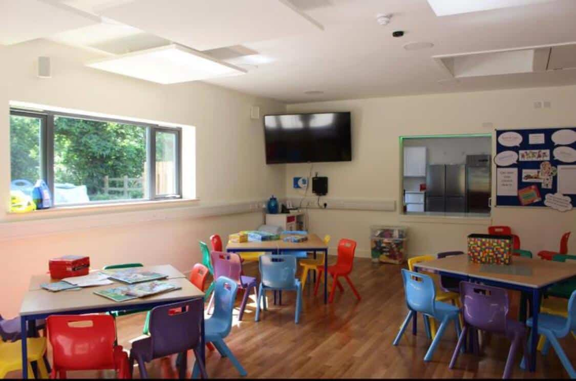 Classroom inside the Herne Community Centre with Colourful chairs and TV on the wall