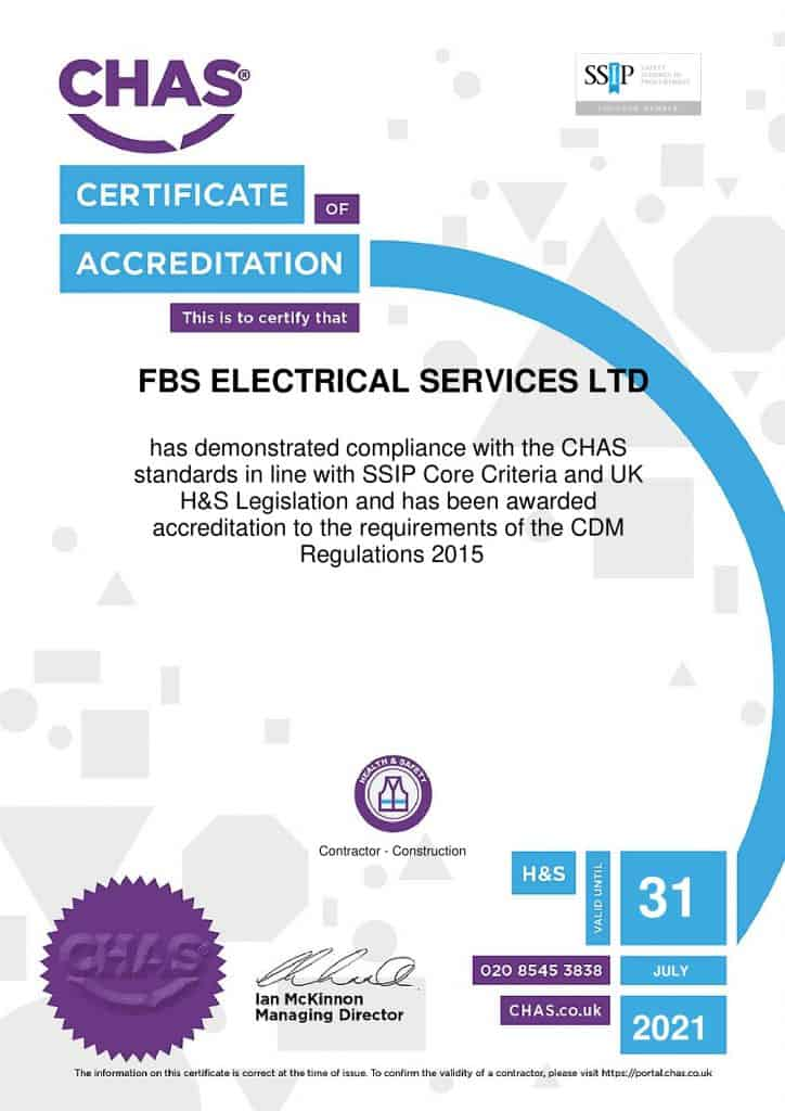 FBS Electrical Thanet CHAS certification